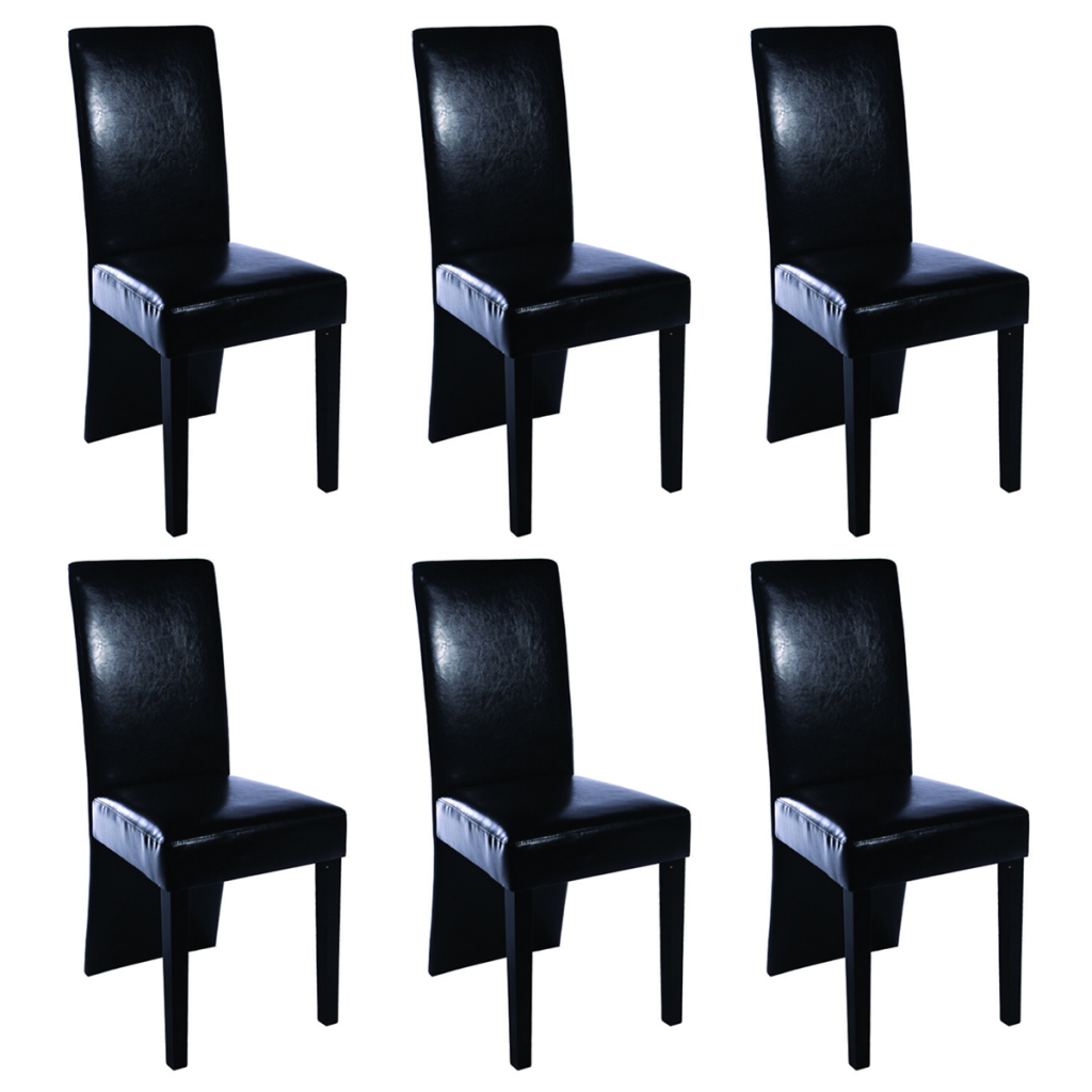 vidaXL 6 Artificial Leather Wooden Dining Chairs Black