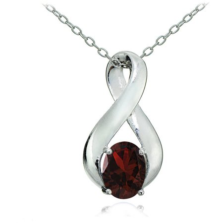 January Womens Necklace (Garnet Sterling Silver Polished Infinity)