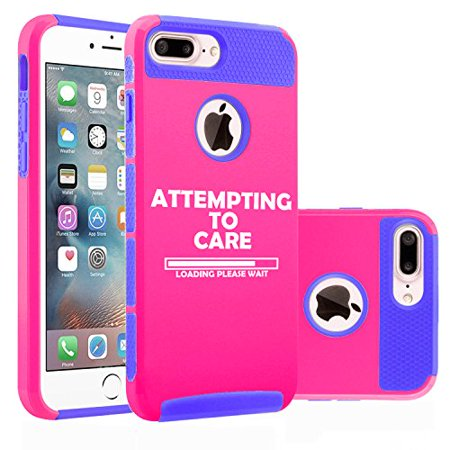 - Shockproof Impact Hard Soft Case Cover for Apple iPhone Attempting to Care Loading Please Wait Funny (Hot Pink-Blue for iPhone 8 Plus)