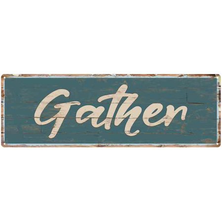 Gather Beach Style Wood Look Sign Gift Green 6x18 Metal Decor 206180086005