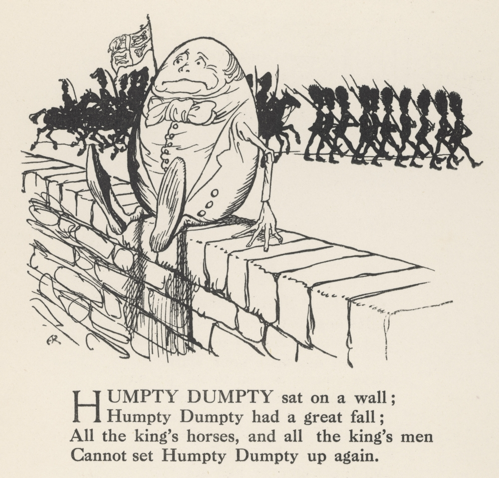 Mary Evans Picture Library/ARTHUR RACKHAM Stretched Canvas Art - Humpty Dumpty - Large 36 x 24 inch Wall Art Decor Size.