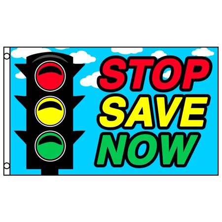 STOP SAVE NOW Advertising Flag Traffic Light Business 3 x 5 Foot Sale Store - Halloween Advertising