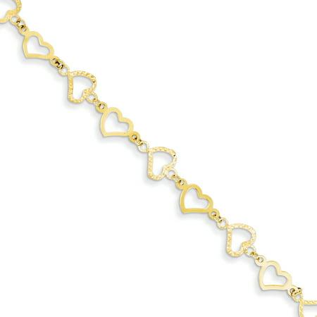 14k Yellow Gold 7in Flat Diamond Cut Open Hearts Bracelet