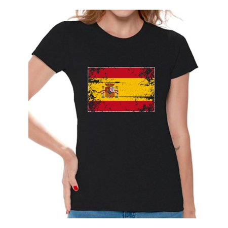 1f122cd5 Awkward Styles Spain Flag Shirt for Women Spanish Soccer 2018 Tshirt Gifts  from Spain Flag of Spain Spanish Women Spain Shirts for Women Spain 2018  Tshirt ...