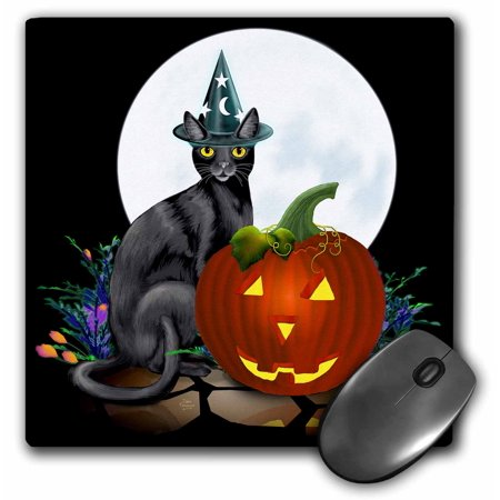 3dRose Witchy Kitty sits next to a glowing JackoLantern on Halloween night beneath the bright full moon, Mouse Pad, 8 by 8 inches