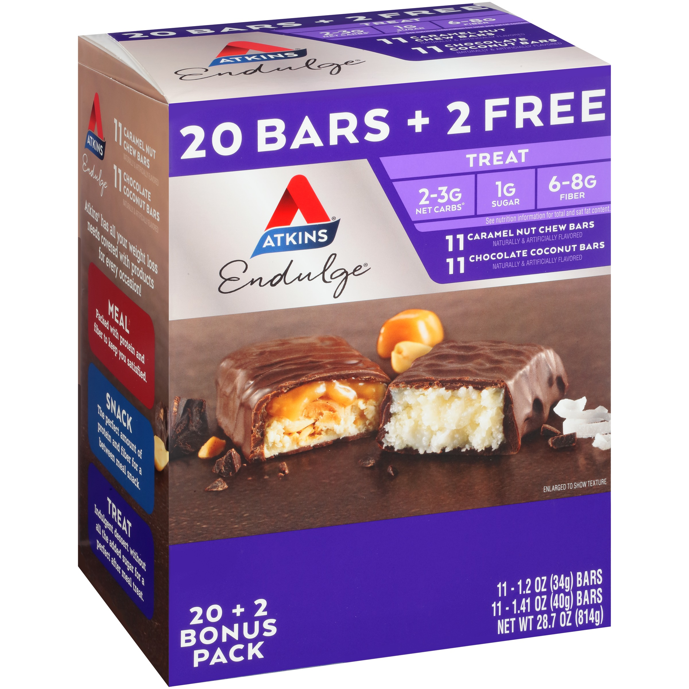 Atkins® Endulge® Caramel Nut Chew/Chocolate Coconut Treat Bars 28.7 oz. Box