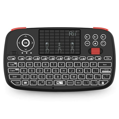 (2019 Upgrade) Rii i4 Mini Bluetooth Keyboard with Touchpad, Blacklit Portable Wireless Keyboard with 2.4G USB Dongle for Smartphones, PC, Tablet, Laptop TV Box iOS Android Windows Mac (Android Portable Keyboard)