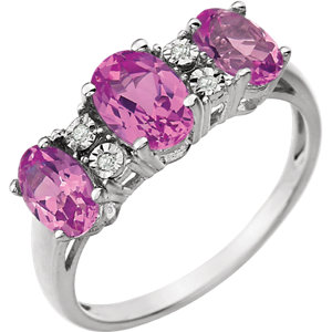 14K White 7x5mm Created Pink Sapphire & .02 CTW Diamond Ring by