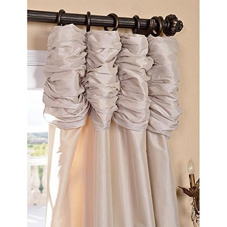 Half Price Drapes PTCH-130907-96-RU Ruched Faux Silk Taffeta Curtain Antique Beige