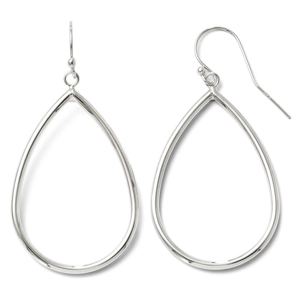10k White Gold Polished Shepherd Hook Dangle Earrings - 2.1 Grams