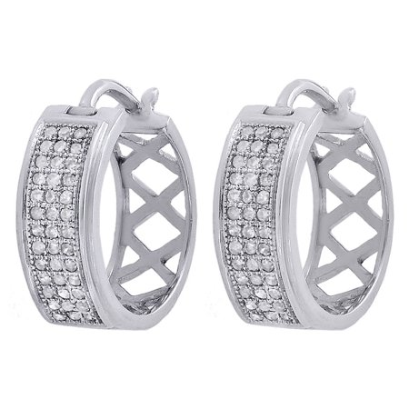 10k Huggie Earrings (10K White Gold Genuine Round Diamond Pave Hoop Huggie Small MJ Earrings 0.27)