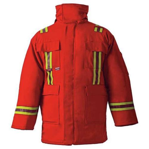 CHICAGO PROTECTIVE APPAREL 600-CC-USR-M Flame-Resistant Parka, Red, M