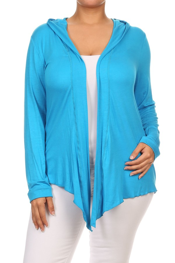 Plus Size Women's Open Front Solid Hood Cardigan