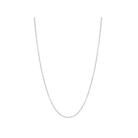 Silver Plated Classic Box Link Chain Necklace Mesh Thin Women's Chain (Silver Plated Flat Link)