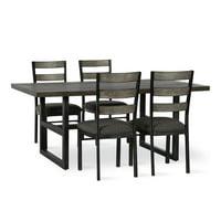 Dorel Living Duncan 5-Piece Metal Base Dining Set, Rustic Gray