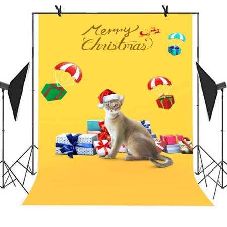 HelloDecor Polyster 5x7ft Merry Christmas Backdrop Gift Cat Christmas Hat Yellow Background Party Studio Props Photo Booth Curtain Background