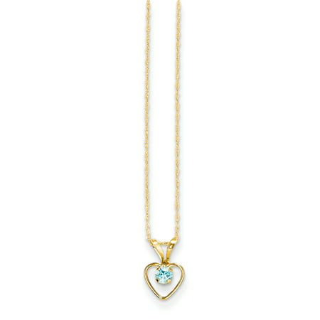 Gold 3d Anchor Charm (14k Yellow Gold 3mm Blue Zircon Heart Birthstone Chain Necklace Pendant Charm S/love Kid )