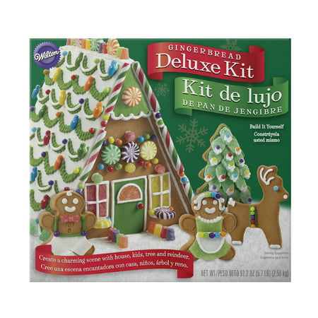 Wilton Build-it-Yourself A-Frame Deluxe Gingerbread House Decorating Kit, with extra cookies