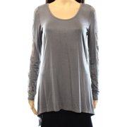 Painted Threads NEW Gray Size Medium M Junior Lace Insert High-Low Knit Top