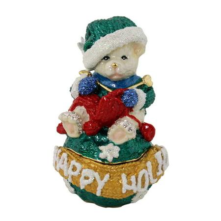 - Happy Holidays Teddy Bear Knitting Red Scarf Trinket Box
