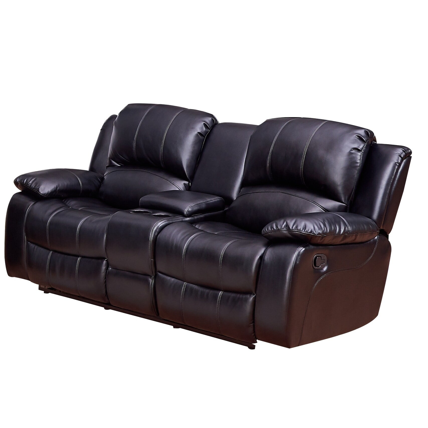 Vanity Art Bonded Leather Motions Sofa Manual Reclining Loveseat With Storage Console For Living Room Sofa Set 2 Seater Black Walmart Com Walmart Com