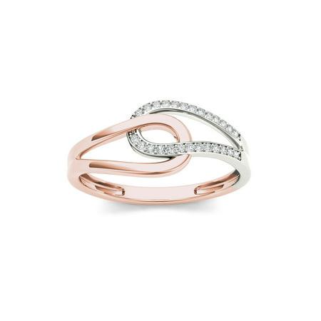 - 1/10Ct TDW Diamond 10K Rose Gold Interlocking Loops Fashion Ring