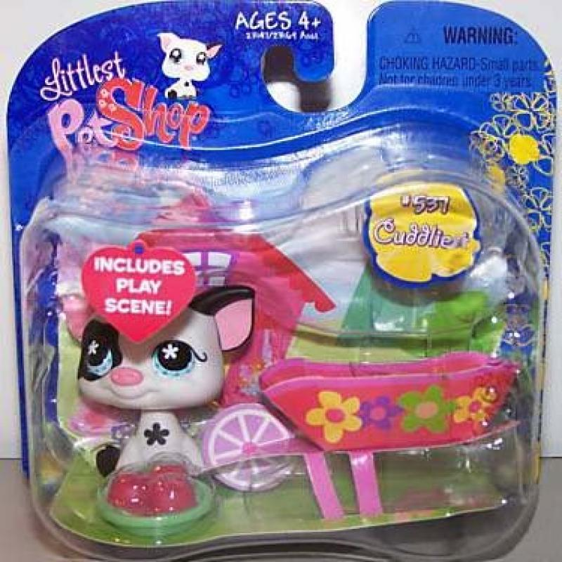 Littlest Pet Shop Exclusive Single Pack Black and White Pig [Apples & Wheelbarrow]
