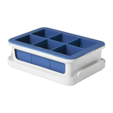 oxo good grips silicone stackable ice cube tray with lid - large