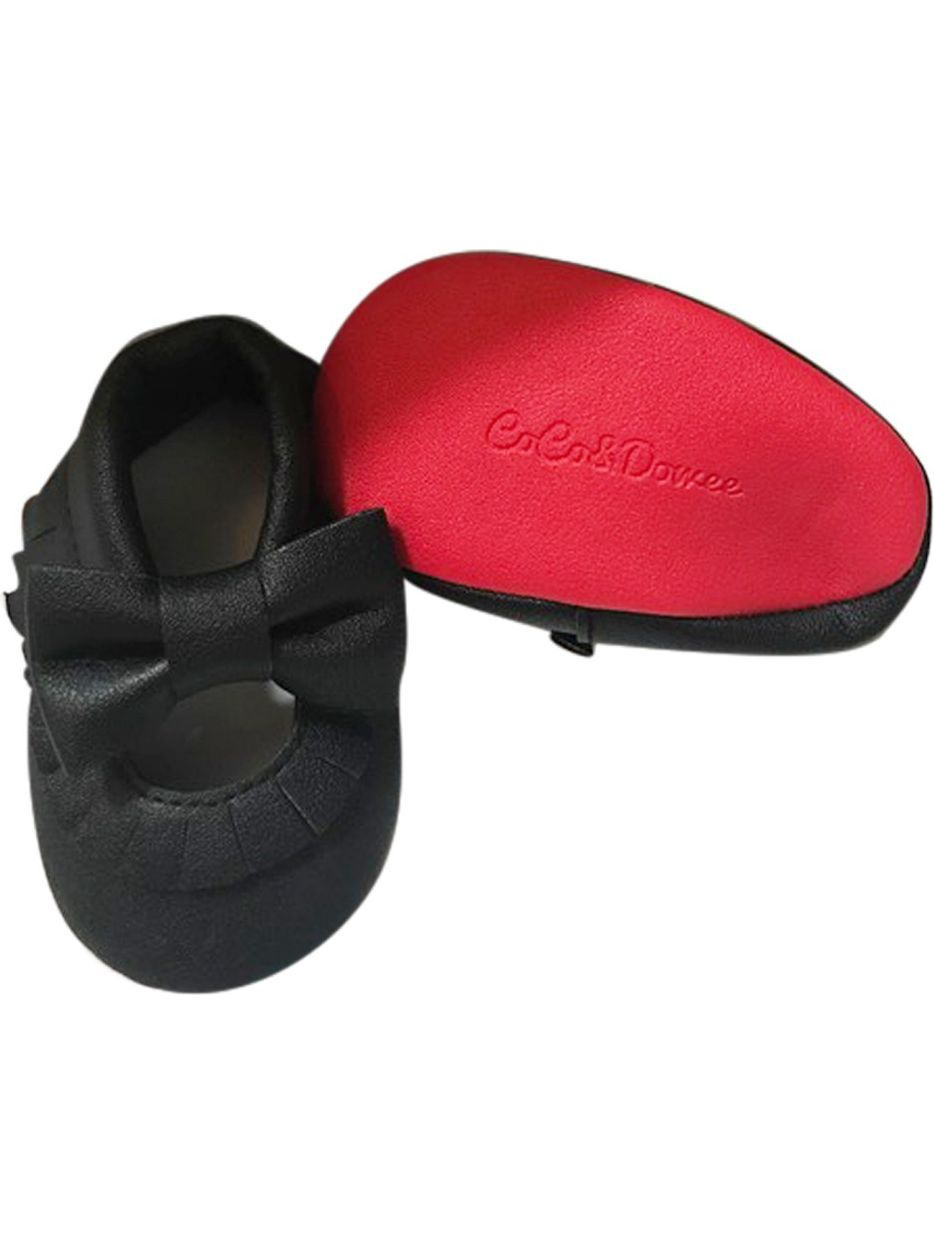 fd4c0c6f1d964 Baby Girls Black Red Soft Sole Mary Jane Bow Faux Leather Crib Shoes 3-18M  - Walmart.com