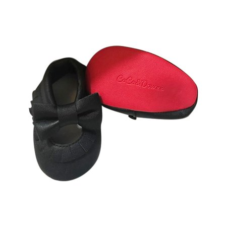 58323ed5aa320d Baby Girls Black Red Soft Sole Mary Jane Bow Faux Leather Crib Shoes 3-18M  - Walmart.com