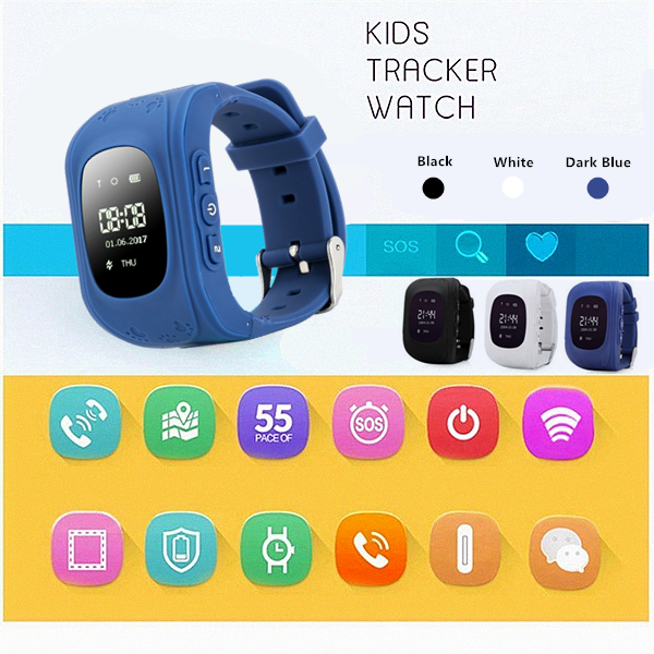 Upgraded Q50 OLED Display Children Smart Watch Kids Wrist Watch with Anti-lost GPS Tracker SOS Call Location Finder Remote Monitor Pedometer Functions, For Android/IOS(Black, White, Dark Blue)