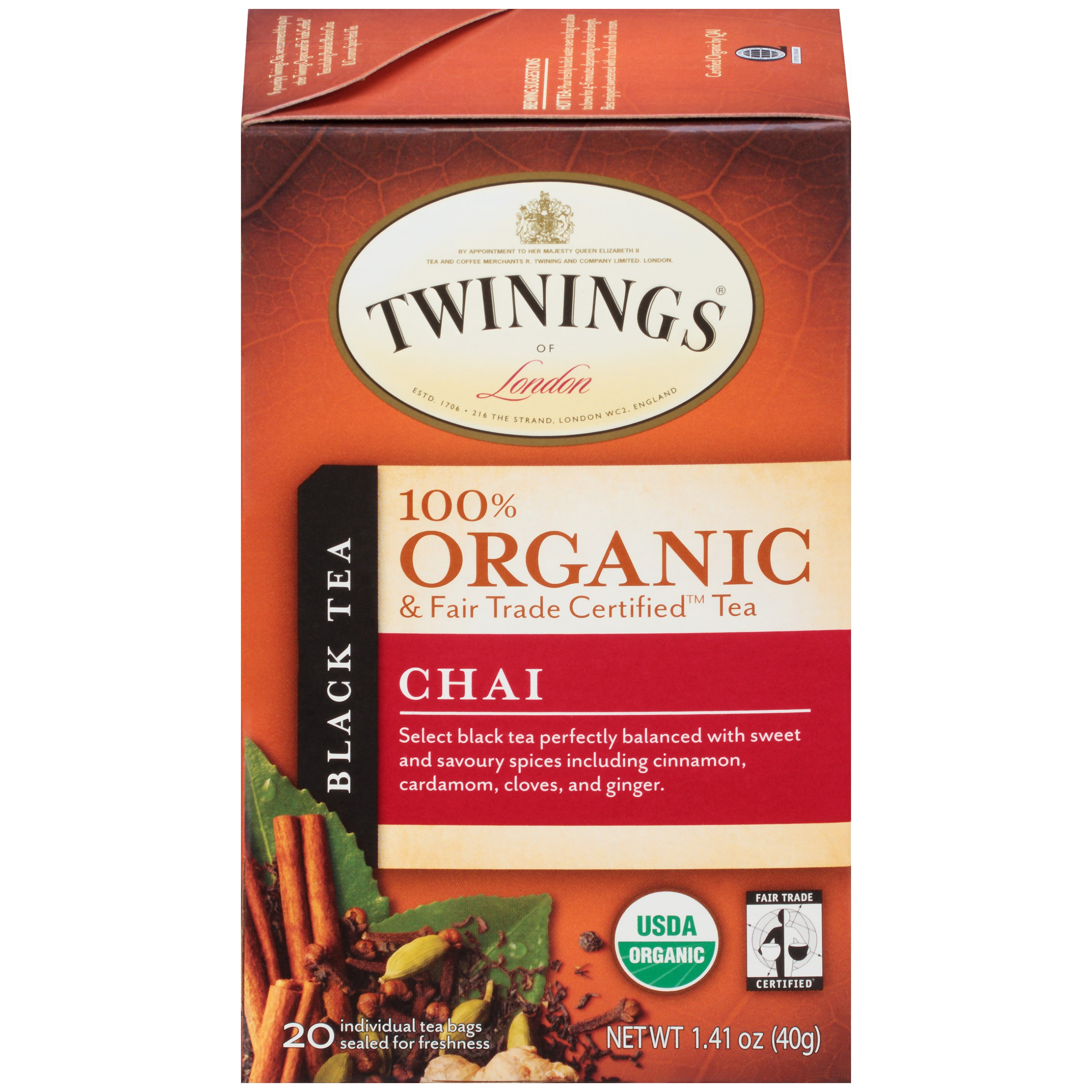 Twinings of London? Organic & Fair Trade Certified? Chai Black Tea 20 ct Tea Bags 1.41 oz. Box