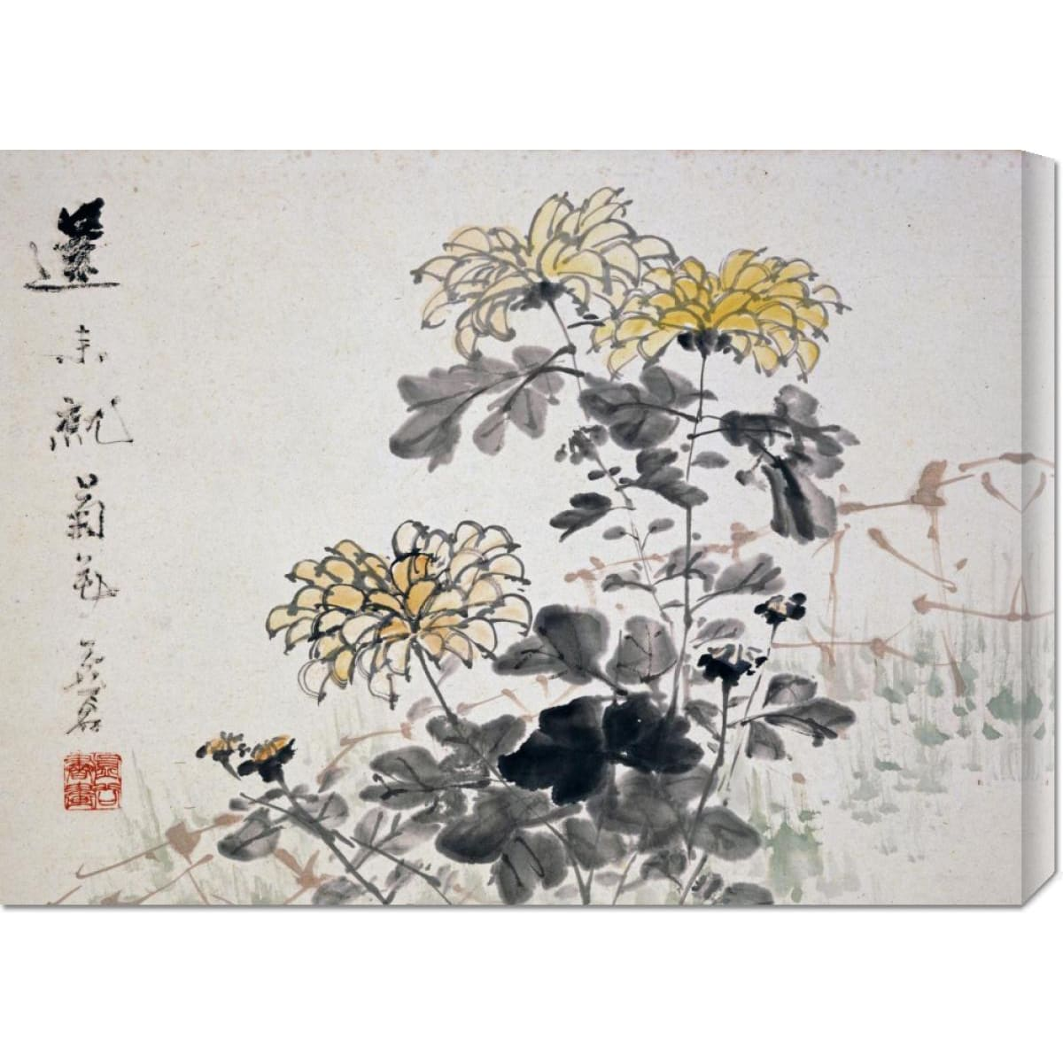 Global Gallery  Xu Gu 'Chrysanthemums' Stretched Canvas