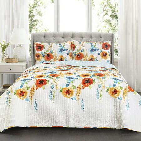 Percy Bloom Quilt Tangerine/Blue 3Pc Set Full/Queen (Bloom Cotton Quilt)