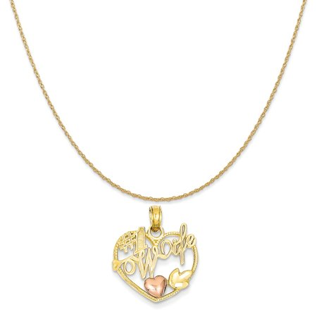 14k Yellow Gold Two-Tone #1 Wife in Heart with Heart Pendant on 14K Yellow Gold Rope Necklace, 20