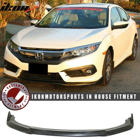 Compatible with 16-18 Honda Civic X Coupe Sedan CS Style Front Bumper Lip Splitter (2013 Honda Civic Si Coupe Front Lip)