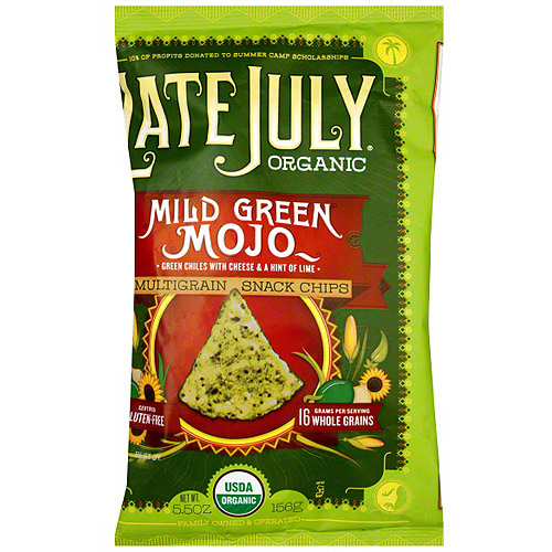 Late July Organic Multigrain Mild Green Mojo Chips, 5.5 oz (Pack of 12)