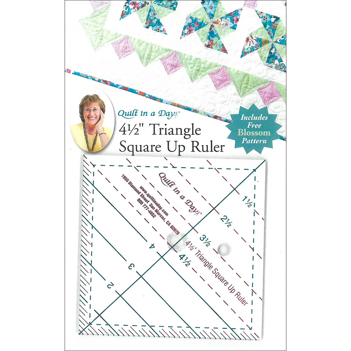"Quilt In A Day Triangle Square Up Ruler-4-1/2""X4-1/2"""