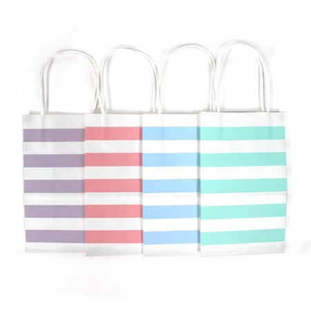 12CT Small Pastel Stripe Biodegradable, Food Safe Ink & Paper Kraft Bag with White Sturdy Handle, Gift Expressions ( Small, Pastel )
