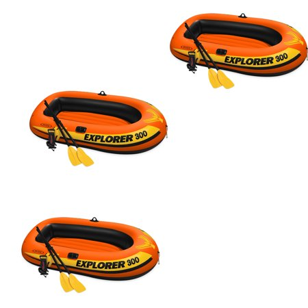 Intex Explorer 300 Inflatable Fishing 3 Person Raft Boat w/ Pump & Oars (3