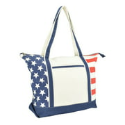 DALIX Stars and Stripes Zippered Cotton Canvas USA Shopping Tote