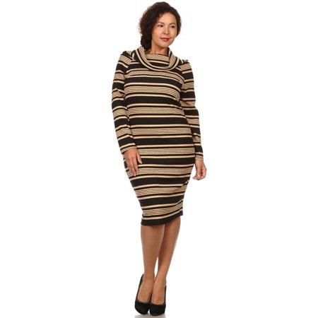 8013 Plus Size Stripe Knee Length Cowl Neck Long Sleeves Midi