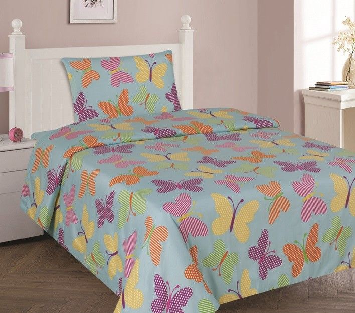 BUTTERFLY TURQUOISE Twin Size 3-Piece Kids Printed Microfiber Bedding SHeet Set 1 Flat... by