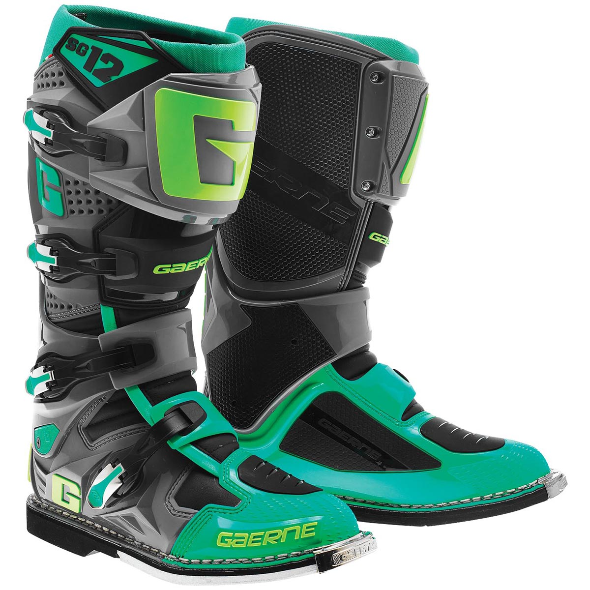 Gaerne SG-12 Mens Turquoise/Lime Motocross Boots