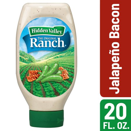 (2 Pack) Hidden Valley Easy Squeeze Jalapeno Bacon Ranch Topping & Dressing, Gluten Free - 20 oz (Easy Salad)