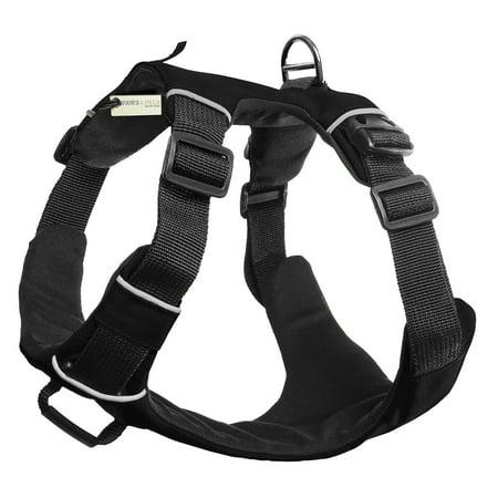 Denim Dog Harness Vest - OxGord Paws & Pals Dog Harness, Medium, Black. No-Pull Durable Padded Nylon Mesh Vest - Easy Secure Control