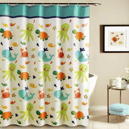 Tayyakoushi Shower Curtain Nautical Tropical Underwater Animal Polyester Nursery Bath 12 Hooks Bathroom Home Decor - Nautical Shower Curtain Hooks