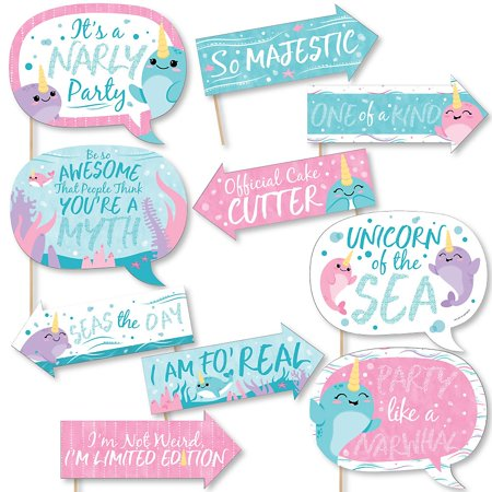 Funny Narwhal Girl - Under The Sea Baby Shower or Birthday Party Photo Booth Props Kit - 10 Piece