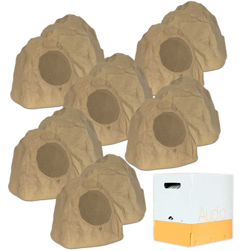 """Theater Solutions 12R8S Outdoor Sandstone 8"""" Rock 12 Speaker Set with Wire for Yard Pool Spa Patio Garden"""