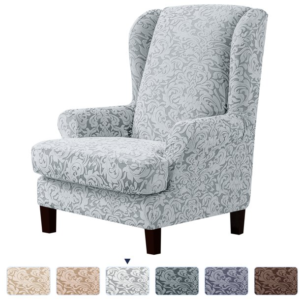 Subrtex Stretch Jacquard Damask 2 Piece, Grey Wingback Chair Slipcover